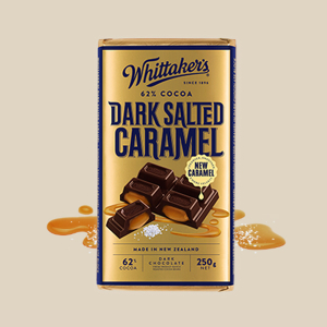 【NZ直邮】惠特克Whittakers 咸焦糖 62%黑巧克力 250g
